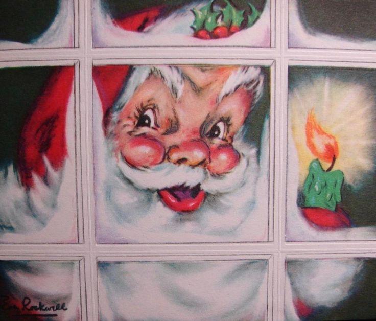 retrochristmas Santa peeking in window. Vintage Christmas