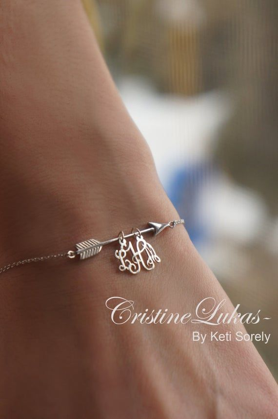 Arrow Bracelet In Solid Gold Or Sterling Silver Initials Etsy In 2020 Arrow Bracelet Monogram Charms Initial Bracelet