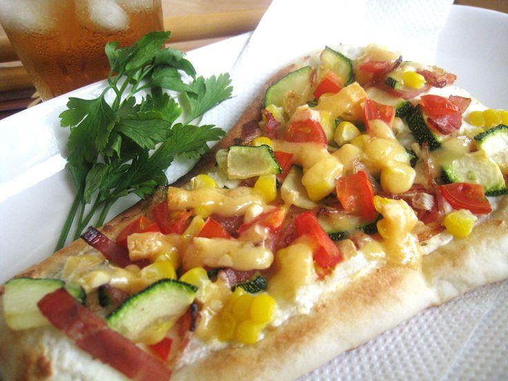 夏野菜のタルトフランベ。   美肌レシピ