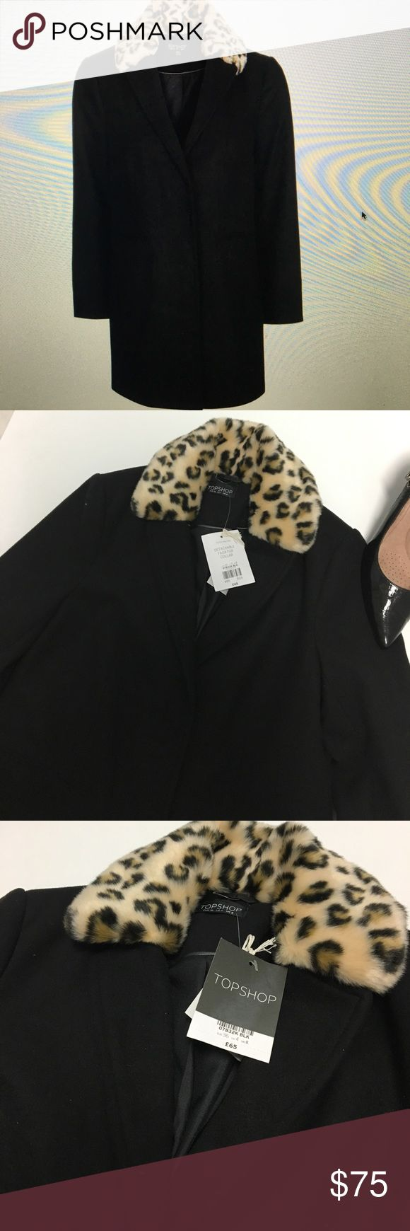 NWT TOP SHOP ANIMAL PRINT DETACHABLE COLLAR COAT Beautiful three season coat with detachable fur collar fully lined Topshop Jackets & Coats