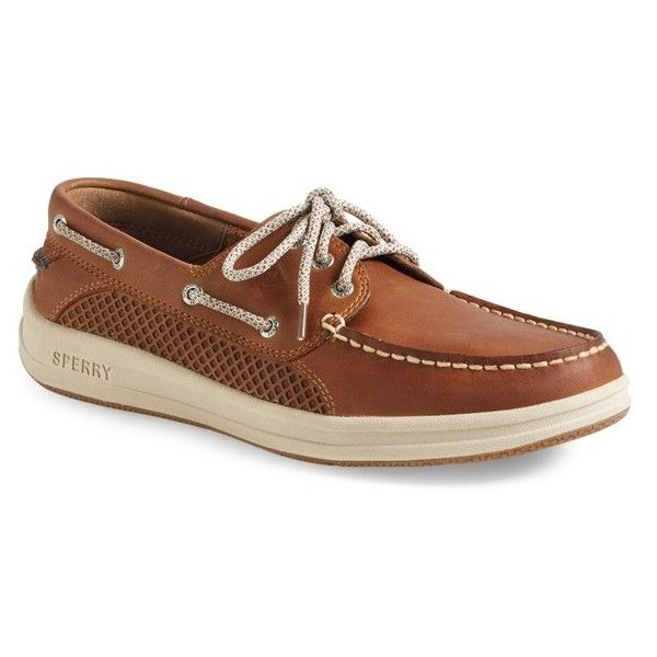 Men's Sperry 'Gamefish' Boat Shoe ($110) ❤ liked on Polyvore featuring men's fashion, men's shoes, men's loafers, cognac leather, mens topsiders, mens deck shoes, mens sperry topsiders, mens shoes and mens lightweight running shoes
