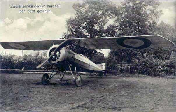 Morane Parasol, the same as shot down at Raismes December 1915, in more recognisable form. Morane Parasol, le même que celui abattu à Raismes Décembre 1915, sous une forme plus reconnaissable.