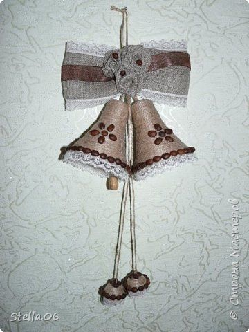 Поделка изделие Новый год Моделирование конструирование Еще немного колокольчиков Кофе Ленты Шпагат фото 2