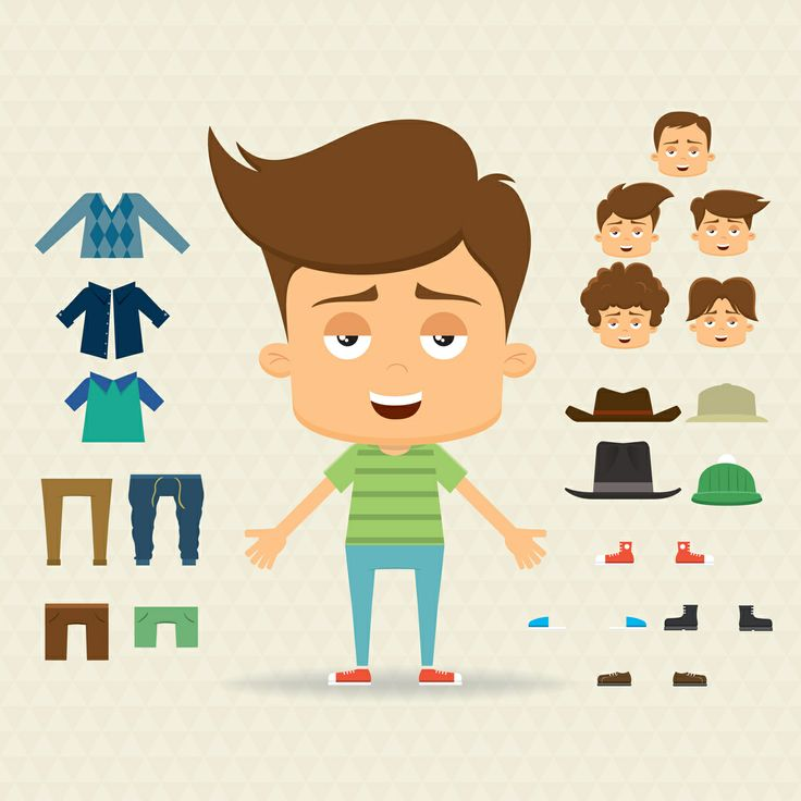 Character Design Elements : Character design set with elements and accessories flat