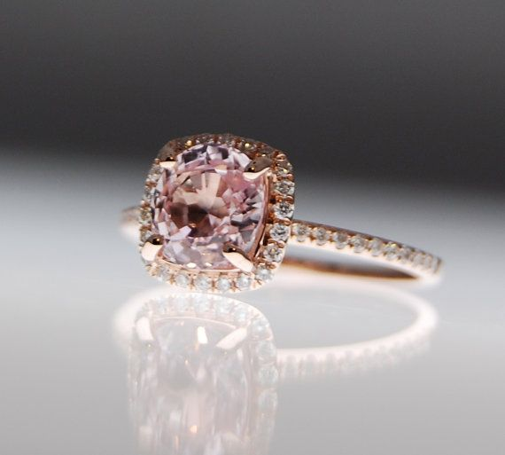 Peach Champagne Sapphire Engagement Ring....