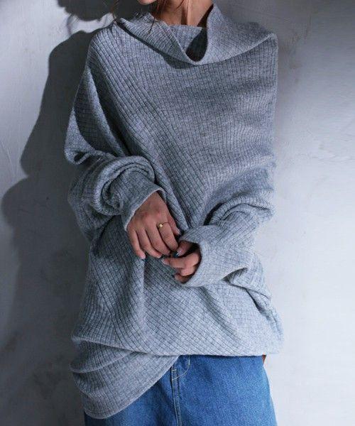 antiqua(antiqua)の「変形を極めたニットトップス(ニット/セーター)」|杢グレー