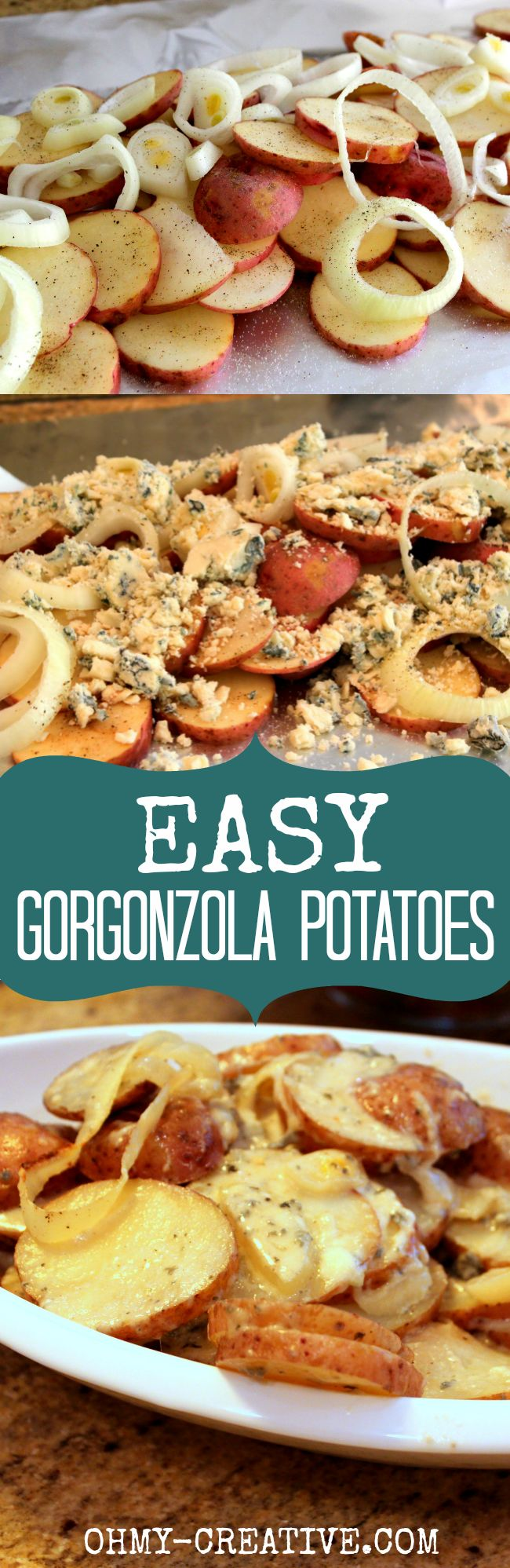 This Easy Gorgonzola Potatoes is one of my favorite side dishes! Quick to prepare, wrap in foil and pop them in the oven. Gooey cheese goodness! |  OHMY-CREATIVE.COM