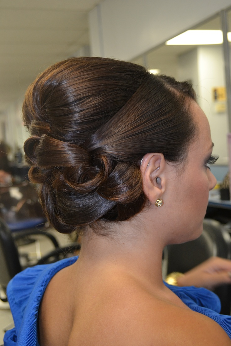Updo Chic Wedding Upstyle Smooth Shiny Barrel Curls