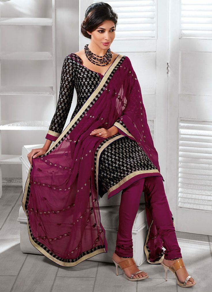 #Black #Silk #Cotton #Churidar Suit