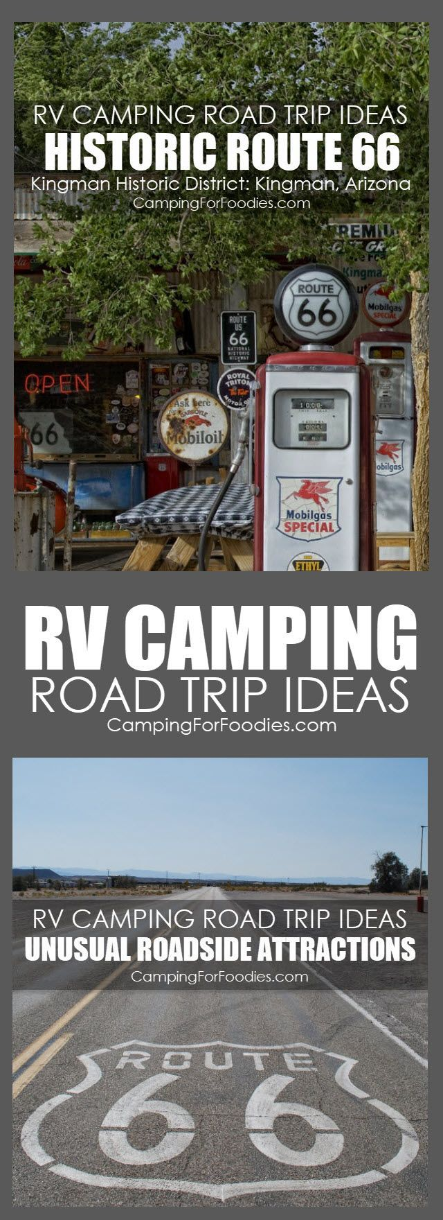 RV Camping Road Trip Ideas With Unusual Roadside Attractions! Some camp trips are short weekend getaways, others are full-fledged vacations. For our family, camping trips are about the journey as much as the destination. When planning your next trip, allocate some time to stop along your route. Here are a few ideas to experience a bit of Americana! #camping #road #trip #unusual #roadside #attractions #rv #road #trip #ideas #historic #vintage #route #66 #Kingman #Arizona