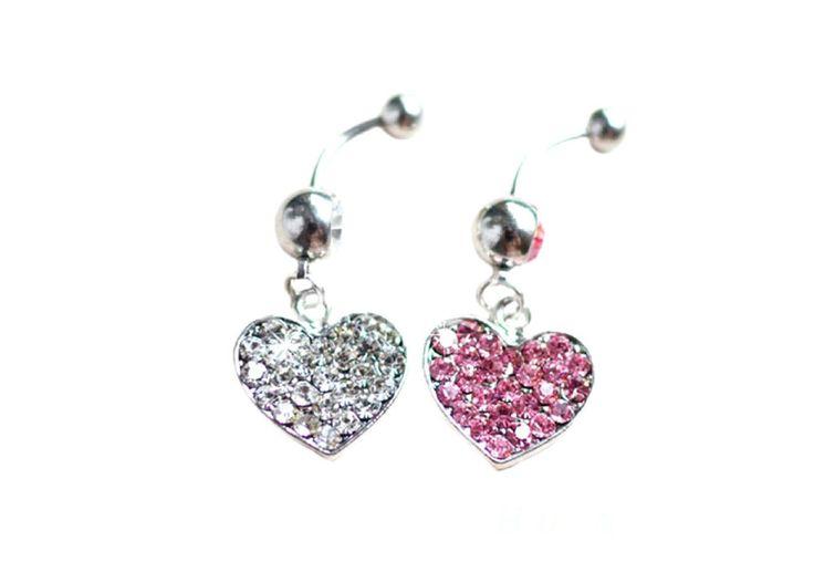 Fancy Little Heart Shaped Crystal Dangle Belly Navel Barbell Ring Body Piercing