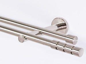 Gardinenstange 16mm 2-Läufig  Edelstahloptik  Metall NEU 120-600cm