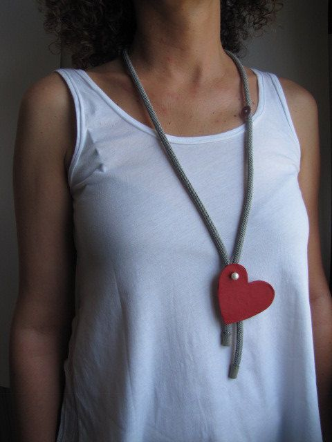Jewelry necklace leather jewelry-heart by SkinToSkinCreations