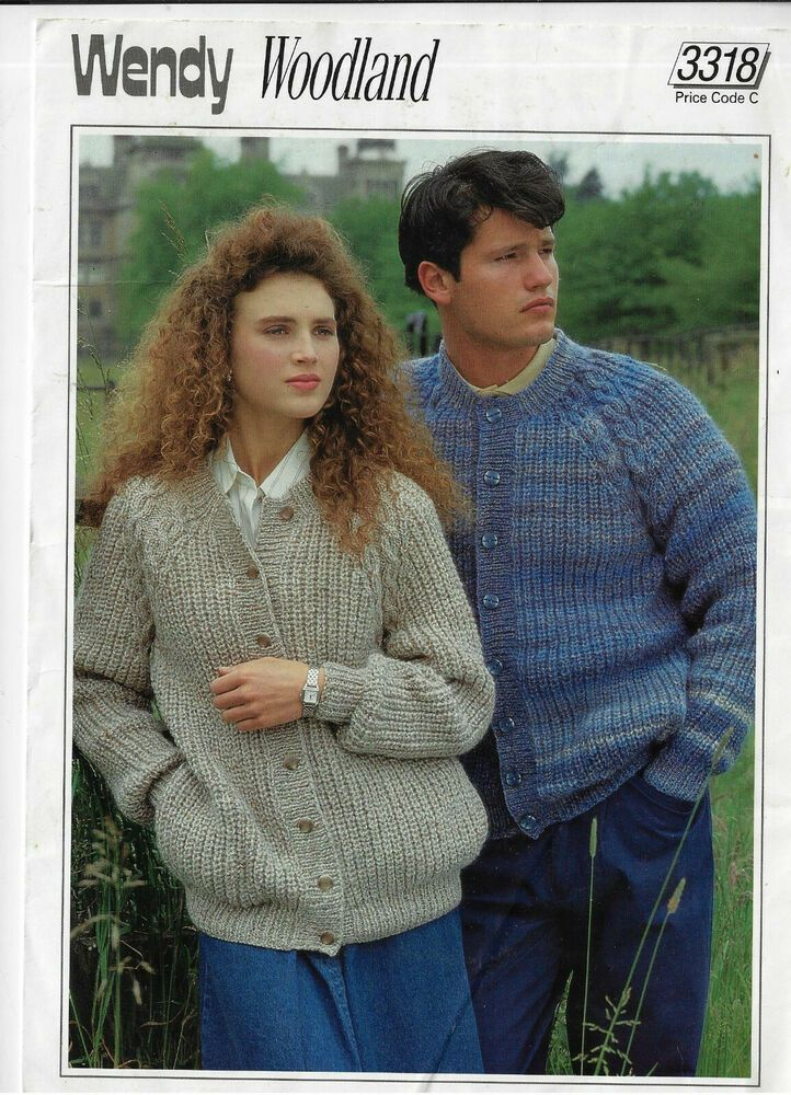 19a2568bda2a Women   Men s Rib   Cable Cardigan Wendy 3318 knitting pattern chunky ...