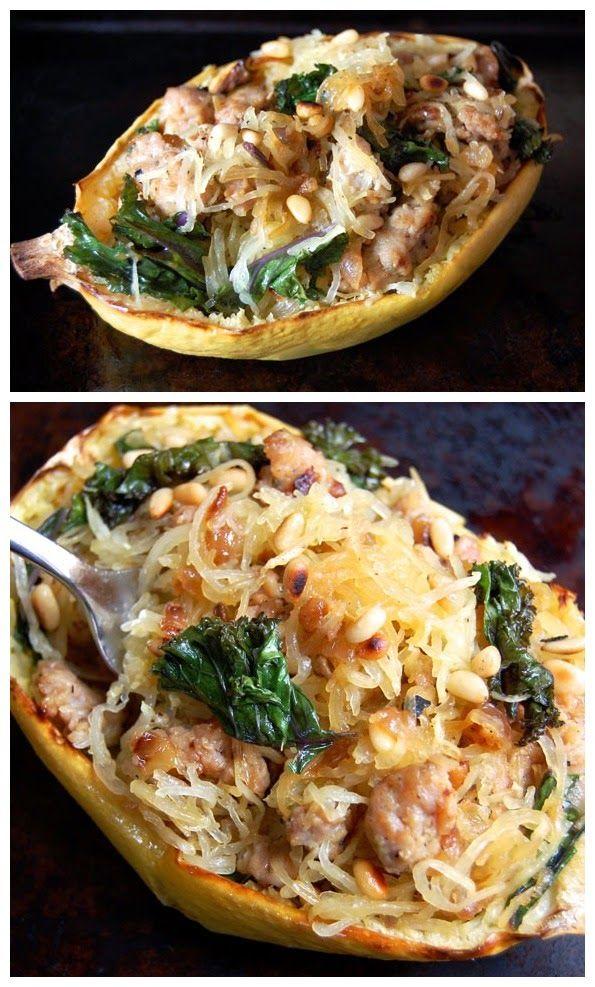 Sausage, Kale, and Spaghetti Squash Boats - Food Story
