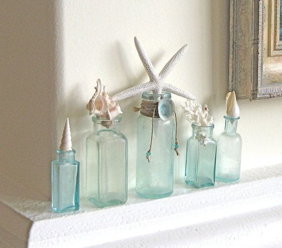 Beach Decor - Antique Aqua Bottles with Starfish, Shells and Coral - nautical coastal vintage green sea shells