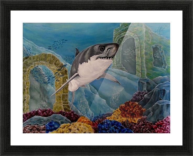 Framed Print, shark,painting,underwater,world,scene,wildlife,fish,seascape,arches,ruins,temples,sunk,ancient,town,saltwater,ocean,sea,deep,bottom,floor,nature,jaws,corals,reefs,bubbles,vivid,colorful,aqua,blue,turquoise,great,white,predator,hunter,water,mystery,submerged,marine,animal,beautiful,awesome,cool,superb,amazing,fabulous,magnificent,contemporary,realistic,figurative,in,of,under,the,fine,oil,wall,art,images,home,office,decor,artwork,modern,items,ideas,for sale,pictorem
