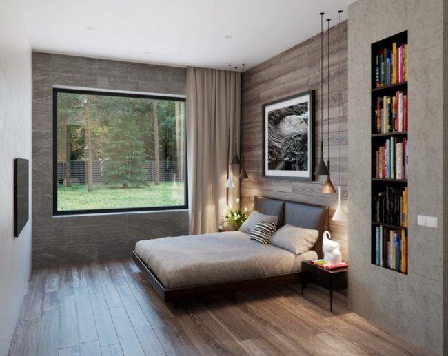 Wandnischen Gestalten Schlafzimmer Nische Bcherregal Echtholzboden Dielen