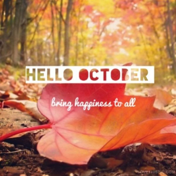 Hello October happiness autumn fall leaves trees