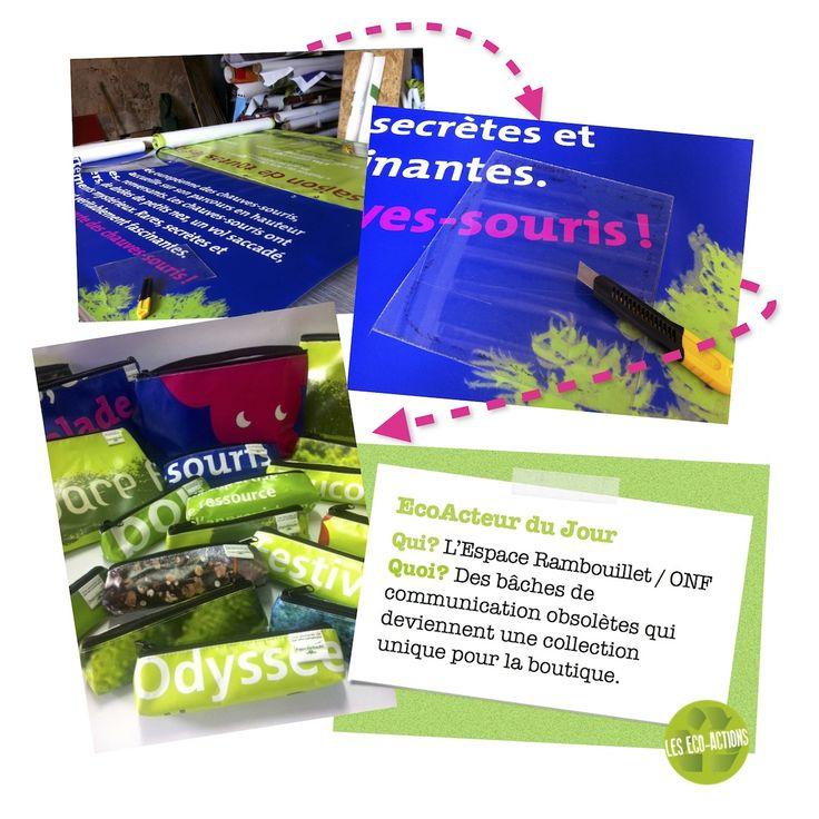 Recyclage de bâche publicitaire de l'Espace Rambouillet par Les Eco-Actions