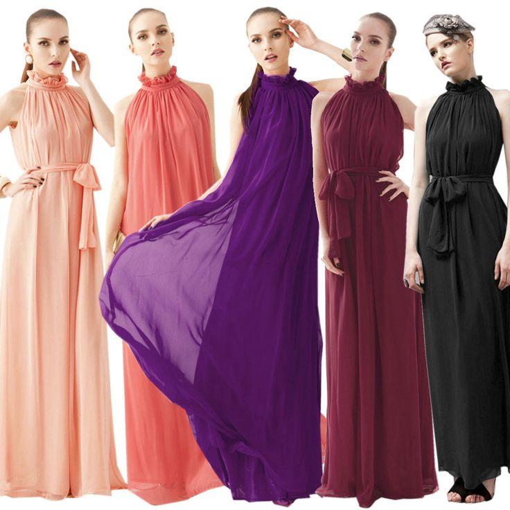 длинные платья женские платья новые женщин платья дам бохо платье макси лето весна шифона платье без рукавов холтер выстроились длинный сарафан подпоясанный ленты