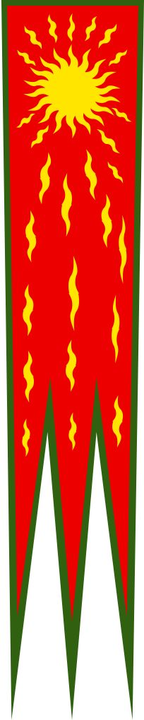 """The Oriflamme (from Latin aurea flamma, """"golden flame"""") was the battle standard of the King of France in the Middle Ages. In French, the term has come to mean any banner with pointed ends; by association with the form of the original. When the Oriflamme was displayed on the battlefield it indicated that no quarter was to be given, its red colour being symbolic of cruelty and ferocity."""
