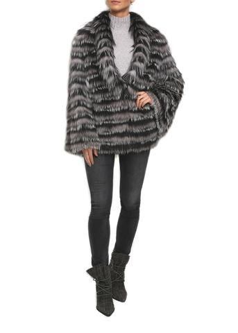 Jessimara Grey and Black Fox coloured Layered Fur Coat