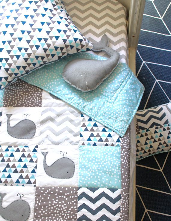 Moby Whale XL Baby Boy Crib Quilt by AlphabetMonkey on Etsy