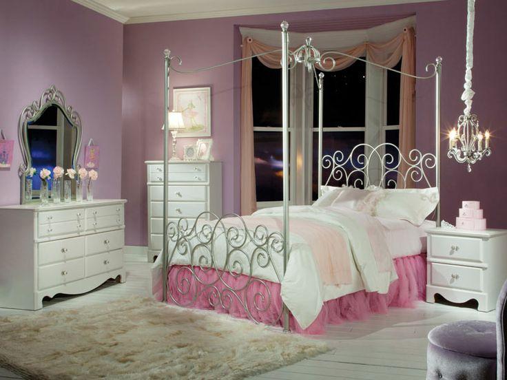 Standard Furniture Princess 2 Piece Kidsu0027 Canopy Bedroom Set In Silver Metal