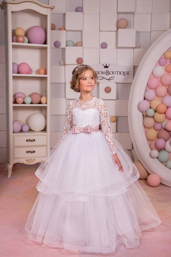 Blanca flor vestido de niña - fiesta de cumpleaños de Dama de honor boda de encaje blanco de encaje y Tul 1105 de vacaciones