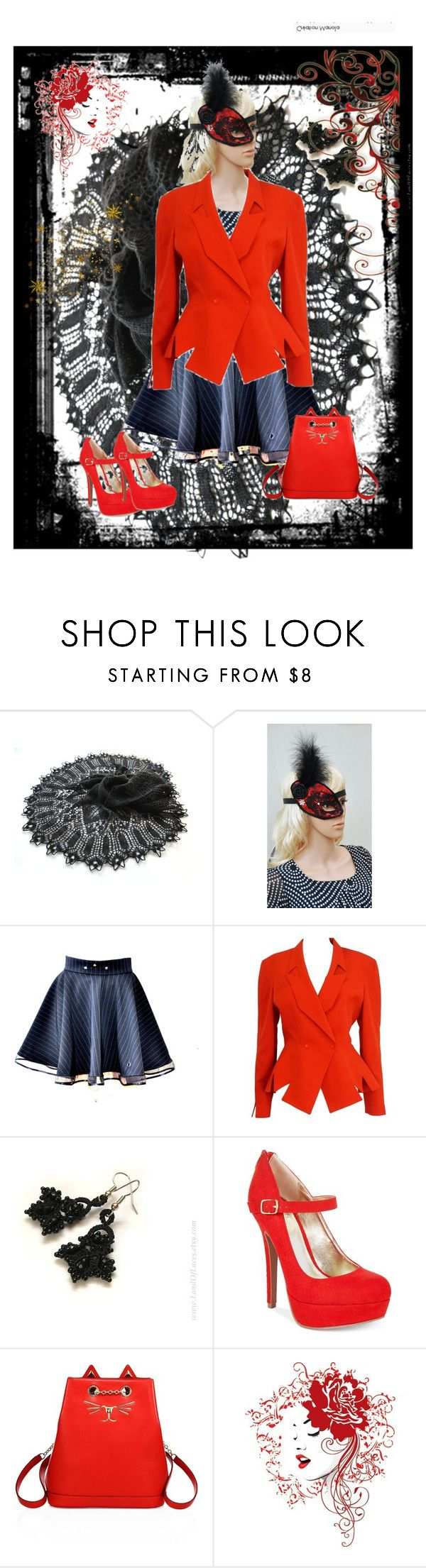 """""""One eye mask"""" by black-passion ❤ liked on Polyvore featuring Masquerade, Thierry Mugler, Material Girl and Charlotte Olympia"""