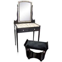 Art Deco Vanity by Maurice Dufrene with Lacquered Bench