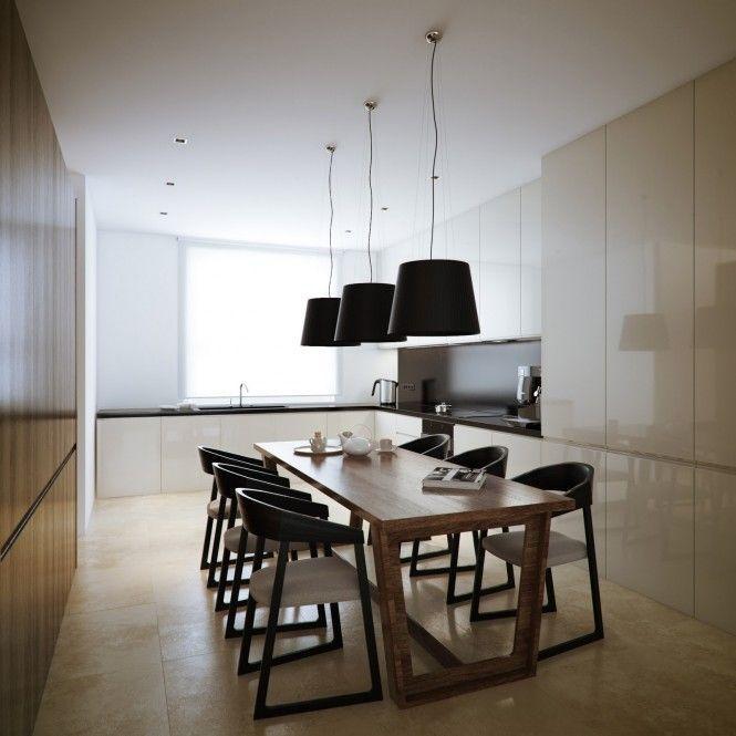 White walnut dining room kitchen area