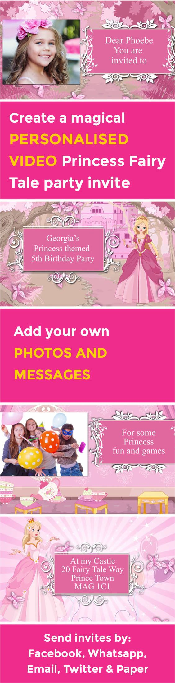 91 best personalised party video invitations images on pinterest create your own magical princess fairy tale video party invitation poshtiger stopboris Gallery