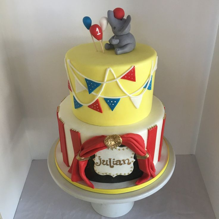 Circus themed birthday cake with fondant big top and elephant. #peridotsweets