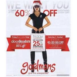 GORDMANS BLACK FRIDAY 2012 AD Gordmans Black Friday 2012 Ad  We now have Gordman's Black Friday 2012 ad! Their sale starts at 5:00 am, with tons of door busters that will only be available until 1:00 pm on Black Friday. They are offering a variety of door buster items, including clothing for the whole family, home products, toys, and even stuff for your pets. Shoppers that come for the rest of the weekend will also get additional savings when they purchase $50 or more.
