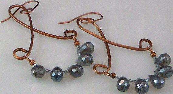 Copper and Labradorite Chandelier Earrings Chandelier by Ashar