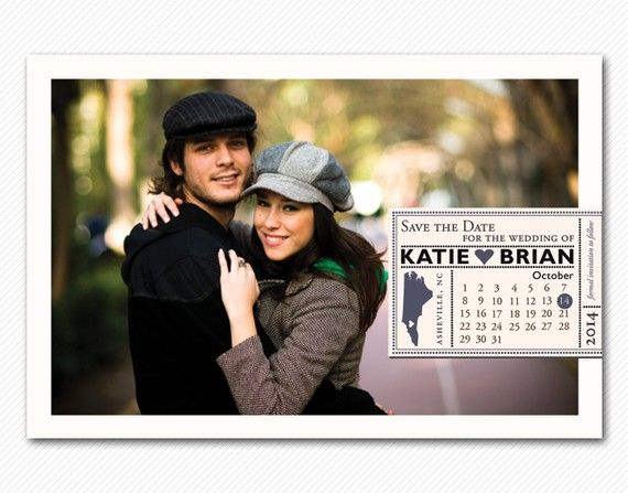 engagement photo w/ calendar for save the date