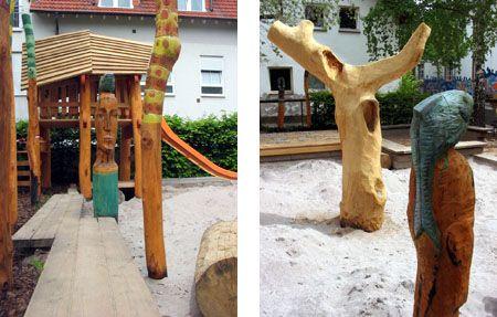 Holzskulpturen und Rutschehäuschen aus Robinienholz