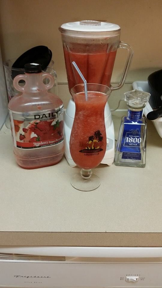 Strawberry daiquiri . Daily strawberry mix and 1800 silver tequila