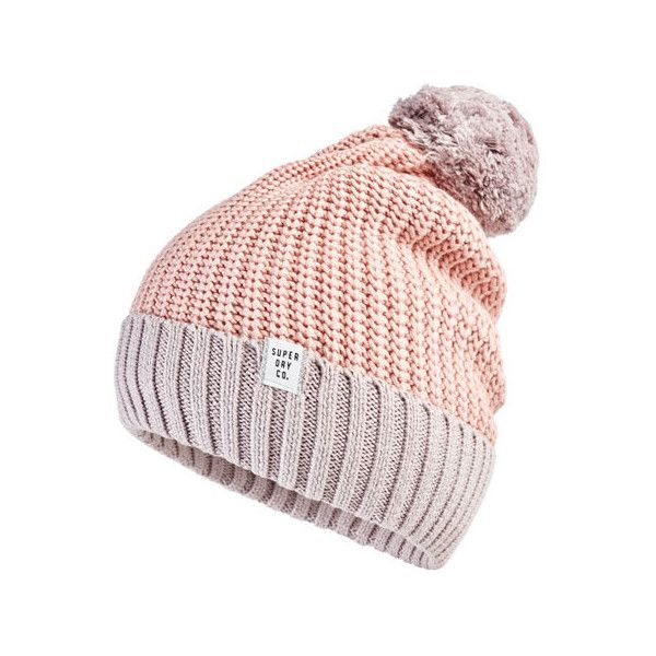 Superdry Colour Block Beanie ($17) ❤ liked on Polyvore featuring accessories, hats, pink, beanie hat, bobble hat, bobble beanie, ribbed beanie hat and pink beanie hat