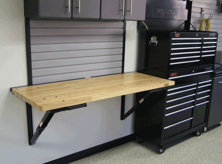 Simple Wall Garage Workbench Made Of Wood Supported By