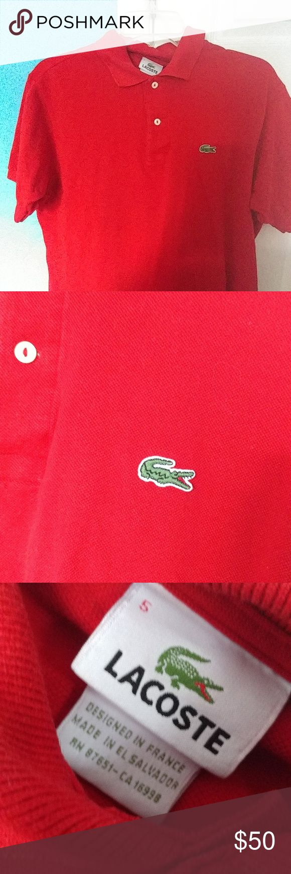 Men's Medium Red Lacoste Polo Men's medium Lacoste polo, very limited wear. No wear and tear in the fabric, still in great condition. Lacoste Shirts Polos