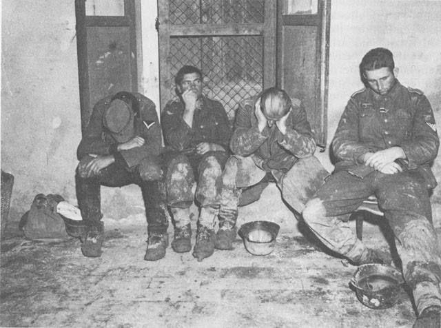 Captured German troops at Castel del Rio Italy 1944.