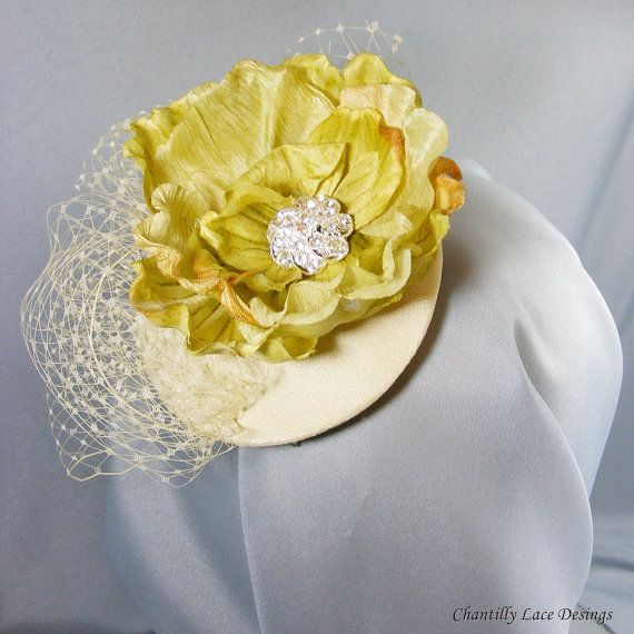 Spring Green Flower Fascinator by ChantillyLaceDesigns on Etsy