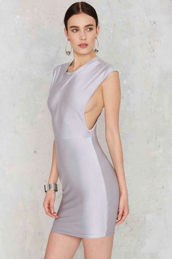 Factory Ahead of the Curve Mini Dress - Silver is the hottest thing this season.