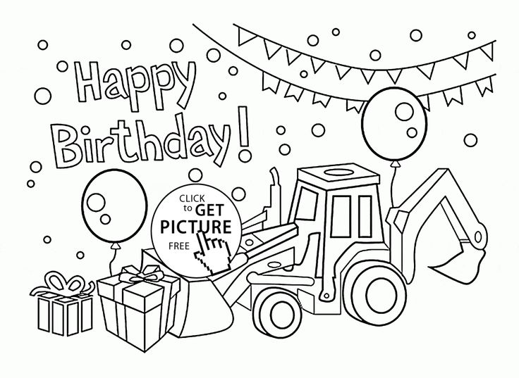 Happy Birthday Card for Boys coloring page for kids ...
