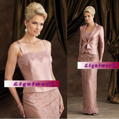 Custom Women Pink Lace Mother of The Bride Gowns Dress Suits Clothing SKU-1040071