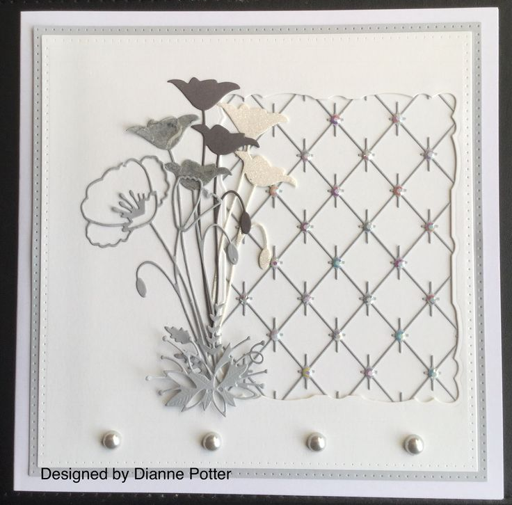 By Dianne Potter: Memory Box dies,Prim and Perky Poppies and Diamond Background,Sue Wilson Noble Squares die....