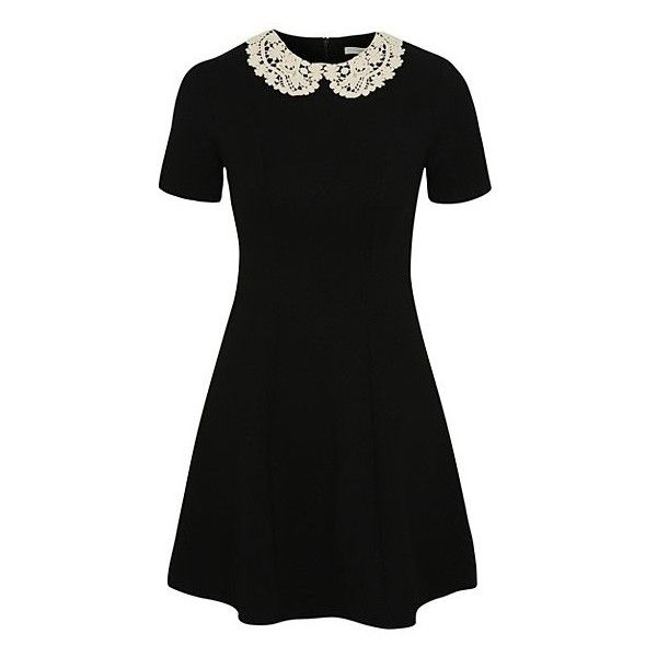 George Crochet Peter Pan Collar Dress ($20) ❤ liked on Polyvore featuring dresses, black, zipper back dress, tall black dress, collar dress, kohl dresses and black peter pan dress
